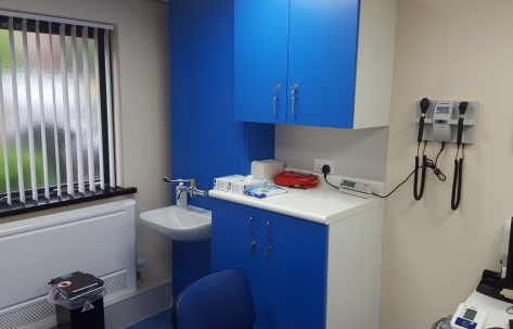 hospital blue cupboards