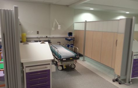 hospital metal moving shelves