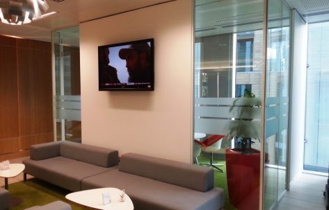 office waiting lounge tv on the wall ikea grey couch