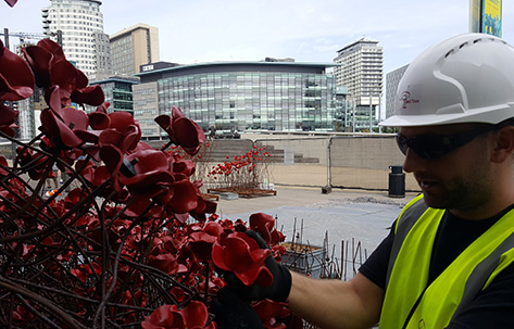 worker placing poppy construction
