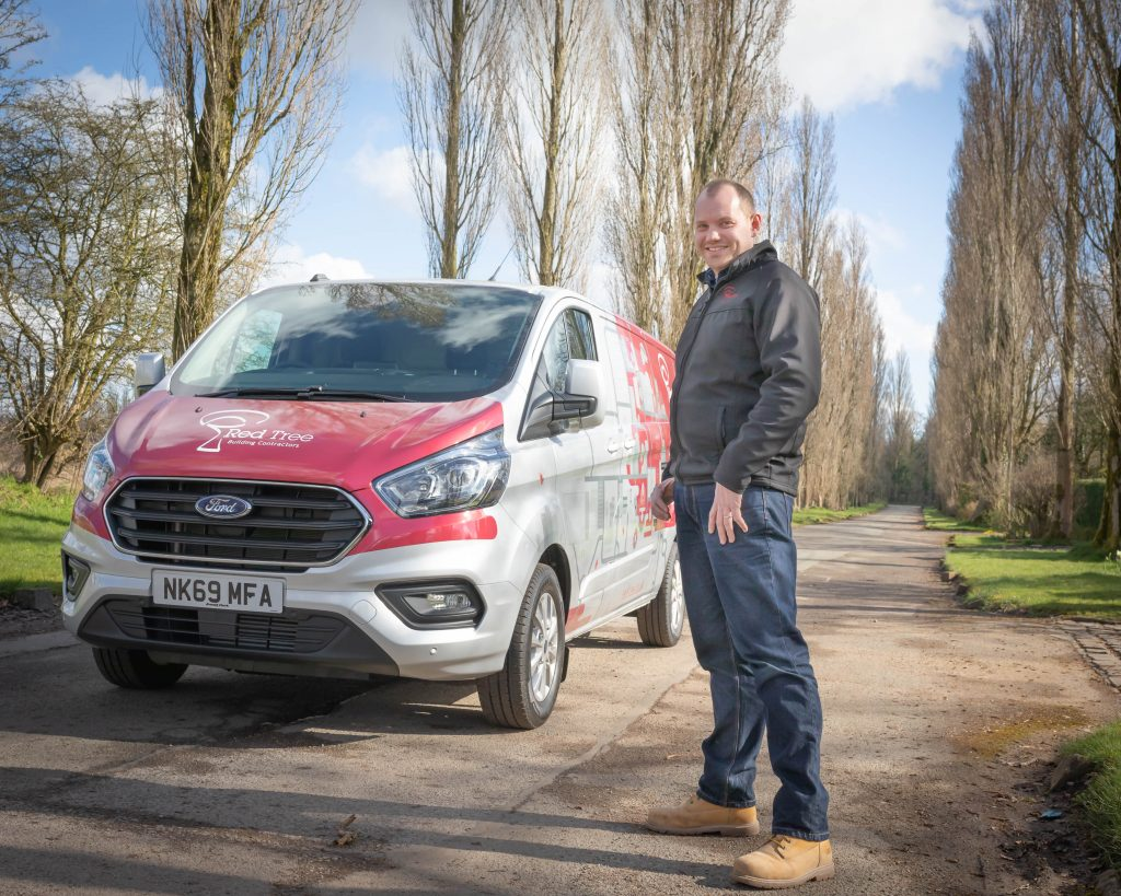 Mark Kenyon with New Hybrid Van in Red Tree Livery